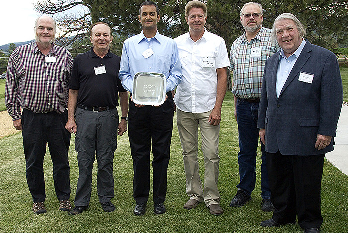 Winners of the 2015 Richard P. Feynman Innovation Prize at Los Alamos National Laboratory, from left, are Larry J. Cox, Forrest B. Brown, Avneet Sood, Gregg W. McKinney, Jeffrey S. Bull and H. Grady Hughes. Also on the winning team but not pictured are Laura Casswell, Michael L. Fensin, John T. Goorley, Michael R. James, Brian C. Kiedrowski, Roger L. Martz, Stepan G. Mashnik, Garrett E. McMath, Richard E. Prael and Trevor Wilcox.