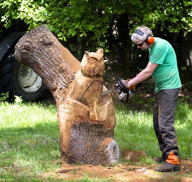 Roydon wood fair chain saw owl carving flickr