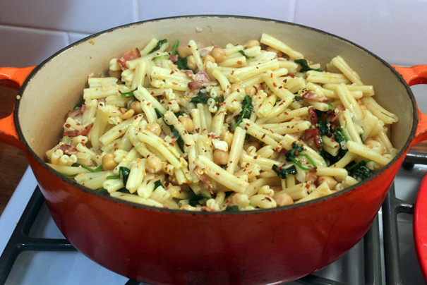 Pasta with Chickpeas, Bacon and Spinach - The Amateur Gourmet