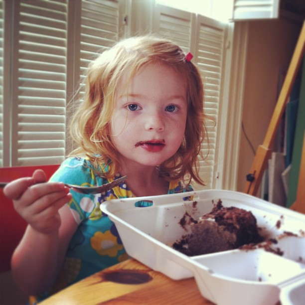 Our chocolate cake-eating house guest is adorable.