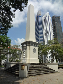 Image of Dalhousie Obelisk. china road 6 building tower skyscraper singapore branch place battery bank obelisk standard sg dalhousie raffles 1850 chartered maybank