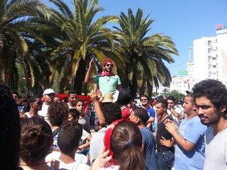 Protesters in front of the National Constituent Assembly building in Bardo, July 26, 2013. Photo credit: Salma Bouzid, Tunisia Live