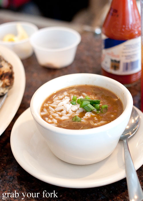 cup of gumbo at felix's restaurant and oyster bar new orleans louisiana