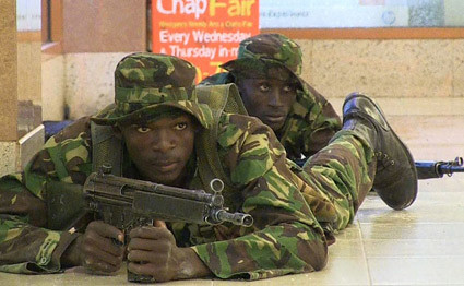 Kenya armed forces at Westgate Mall during the shooting and hostage standoff. The Al-Shabaab Islamic resistance movement says its fighters are involved in the attack. by Pan-African News Wire File Photos