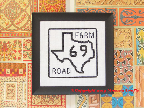 Texas Farm Road Sign Cross Stitch
