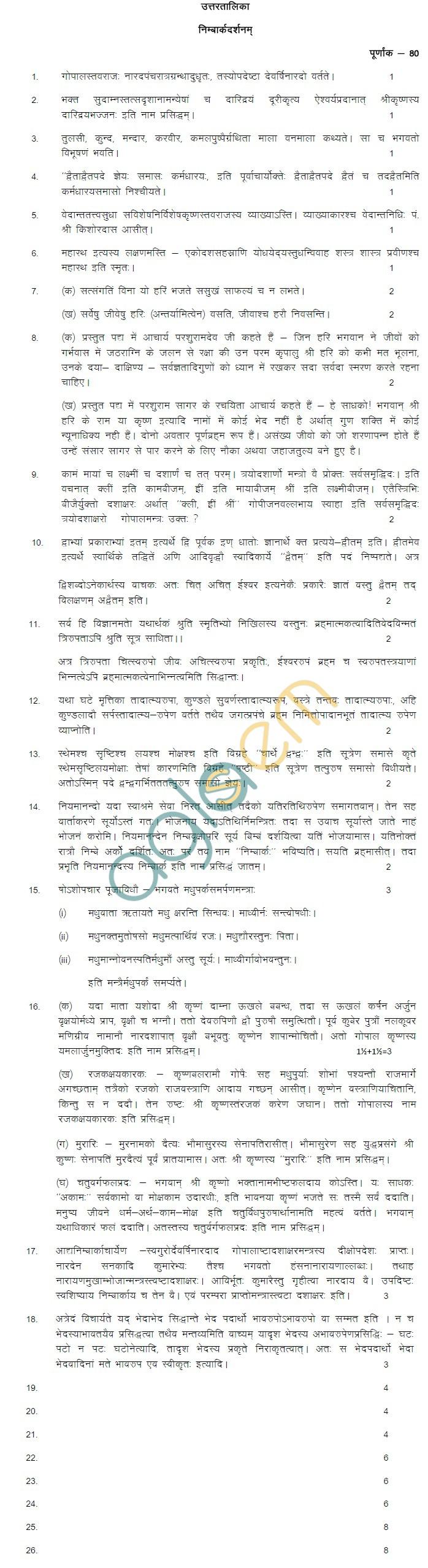 Rajasthan Board Class 12 Nimbark Darshan Model Question Paper