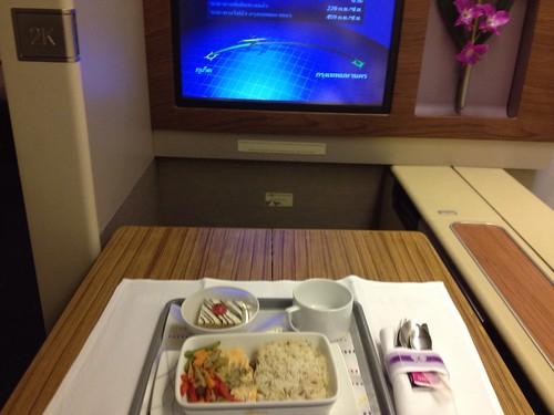 Thai Airways domestic flight dinner onboard.