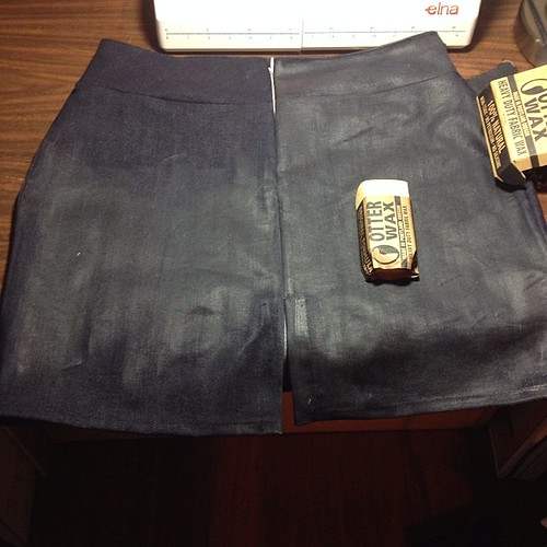 Made a denim skirt, now waxing it #otterwax