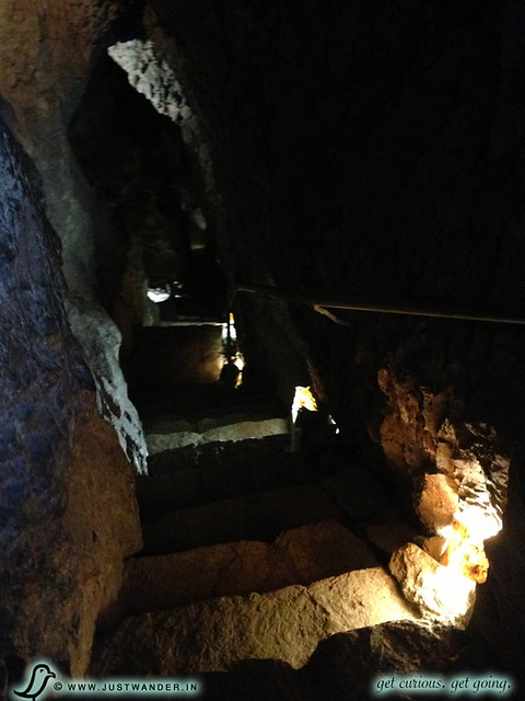 PIC: Colossal Cave dark stairway descent on the Ladder Tour