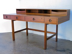 ***ON DECK***Ingenious Danish Mid Century Modern Peter Lovig Nielsen Teak Flip Top Partners Desk (Denmark, 1960s)