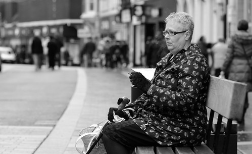 street uk urban bw woman white black wales bench photography nikon sitting candid cymru smoking pontypridd ponty d7000 justard