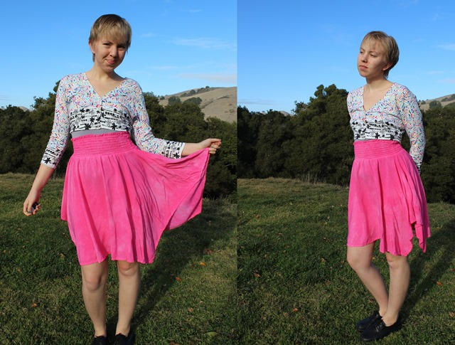 Floral Cardigan, Bright Hot Pink Handkerchief Skirt - OOTD 1/7/2014