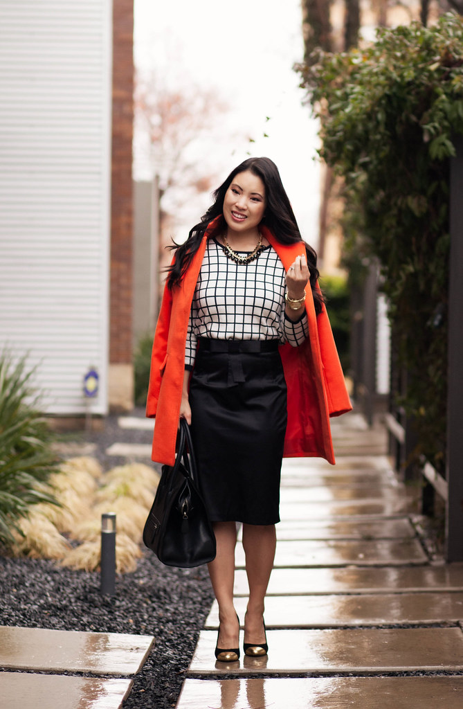 cute & little blog | orange long coat, windowpane grid sweater, black bow pencil skirt, capped toe heels outfit