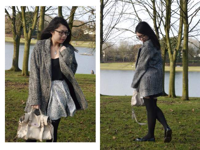 Daisybutter - UK Style and Fashion Blog: what i wore, how to wear skater skirts, textured skater skirts, mulberry alexa