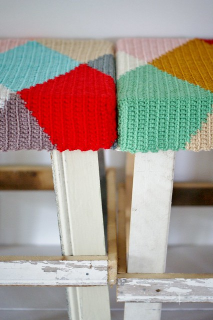 wood & wool harlequin stools