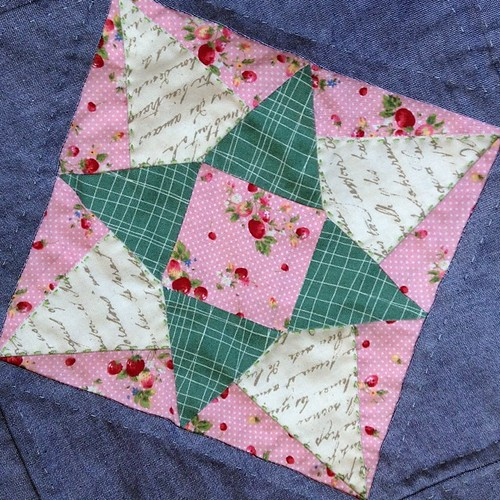 The green quilting us subtle, but this may be my favorite block yet. #farmerswifequilt