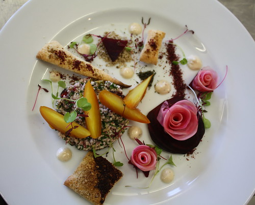 Salt Roasted Beetroot with  Cauliflower Tabbouleh, Almond and Garlic Puree and Air breads