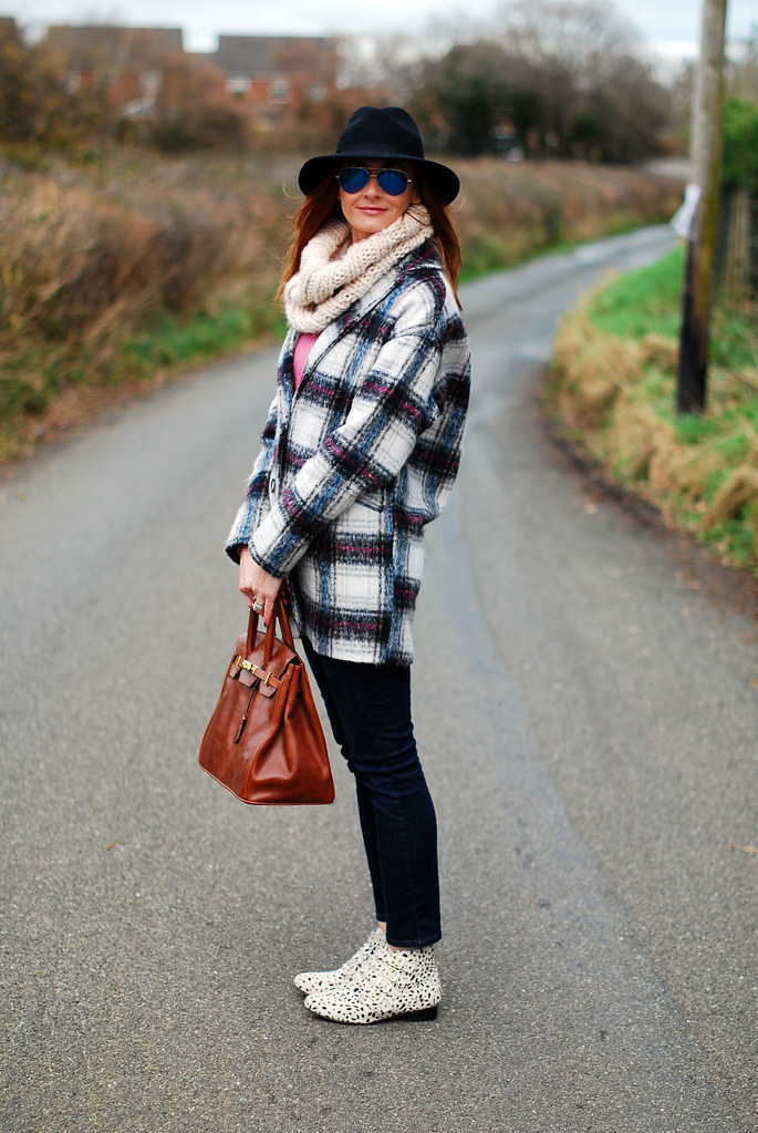 Check coat, fedora & flat booties
