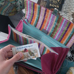 Got myself the coolest wallet/clutch ever! My two favourite colors AND stripes love! From MrAndMrsWallet.etsy.com