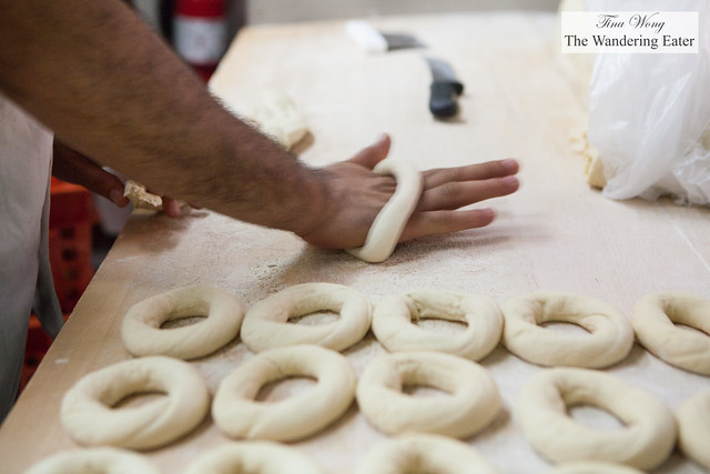 Rolling the bagels
