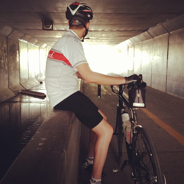 Day161 Got stuck out biking in a thunderstorm.  Sat in a tunnel while it passed. 6.10.13 #jessie365
