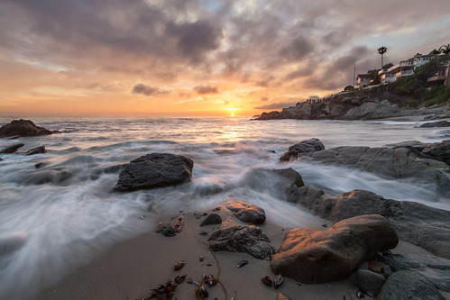 ocean california sunset house beach clouds rocks day waves pacific cloudy palm lagunabeach mosscove