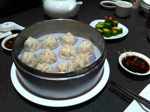 Soup dumplings and cucumber salad