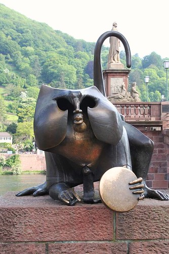 close up of statue monkey on Heidelberg Bridge
