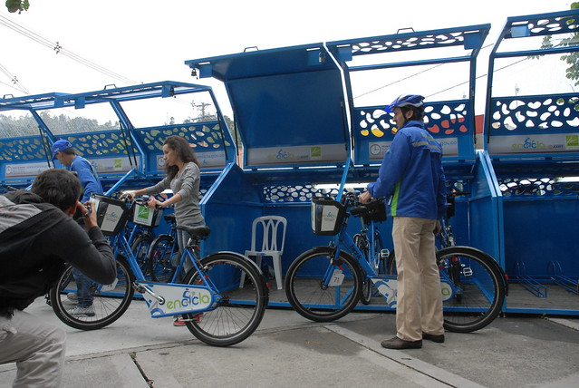 """EnCicla"" bike share docking stations. Image by Secretaría de Movilidad de Medellín via Flickr."
