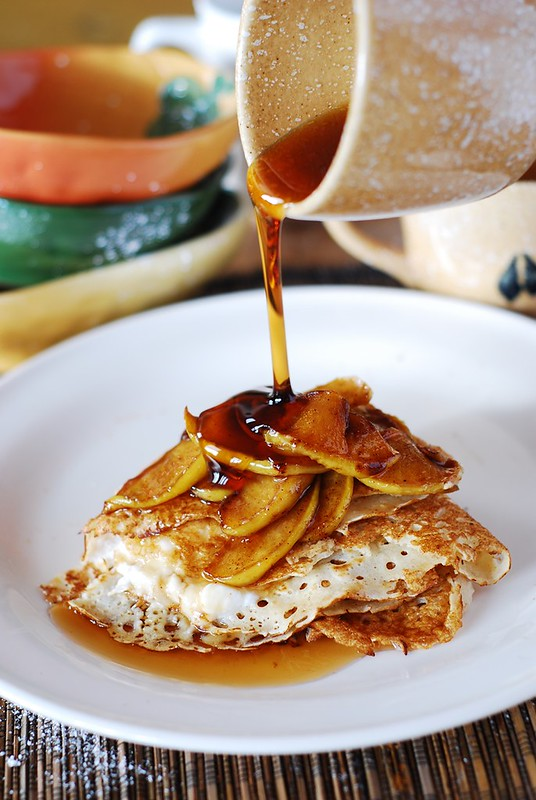 Crepes with caramelized apples and ricotta cheese filling, breakfast recipe, breakfast crepes, breakfast pancakes, fall recipes, cinnamon apple crepes