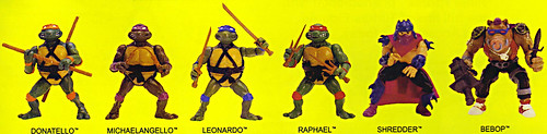 TEENAGE MUTANT NINJA TURTLES :: 'HEROES IN A HALF SHELL'  PLAYMATES TOYS 2009 NYCC / TMNT 25 RETRO PRINT ( 1987 Repro Sales Flyer } vi // FIGURES isolated (( 2009 ))