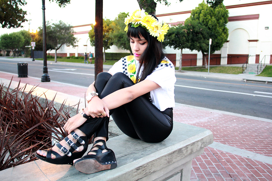 Tarte Vintage Disco Pants, Sunflower tee, Sunflower Floral crown at shoptarte.com