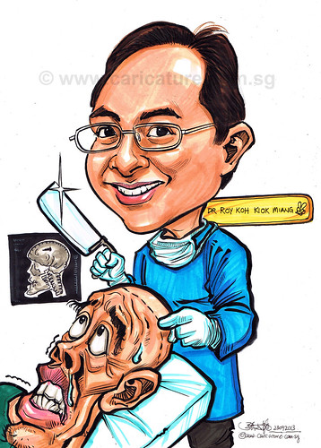 Dr Roy Koh neurosurgeon caricature for AHPL