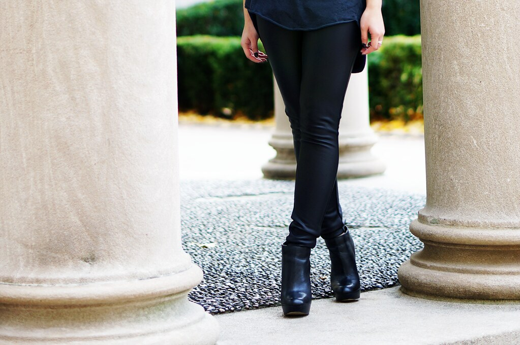 Petite Hues, faux leather leggings, oversized sweater, ankle booties, legging boots