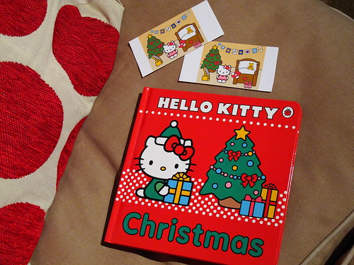 Hello Kitty Christmas board book & home made stickers