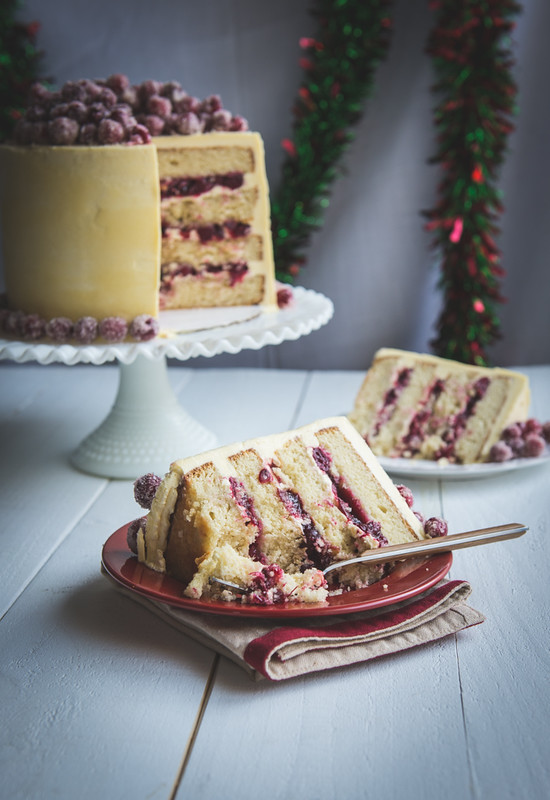 Christmas White Chocolate Cranberry Cake www.pineappleandcoconut.com #holidayfoodparty