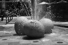 A water fountain with dinosaur eggs in the Universal Studios Singapore