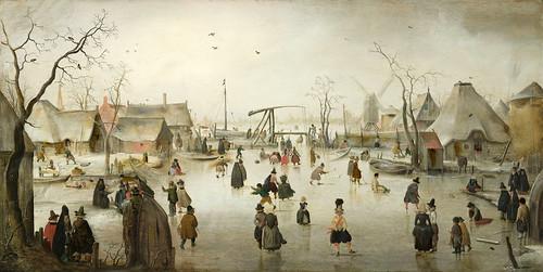 001-Patinaje en un pueblo, Hendrick Avercamp, ca 1610-Rijkmuseum