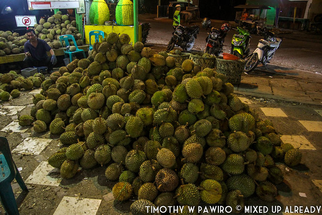 Indonesia - North Sumatra - Medan - Durian Ucok - Plenty of durian lying on the floor