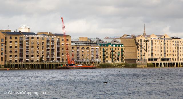 Crane barge outside New Crane Wharf