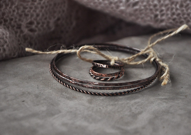 copper bangles and rings