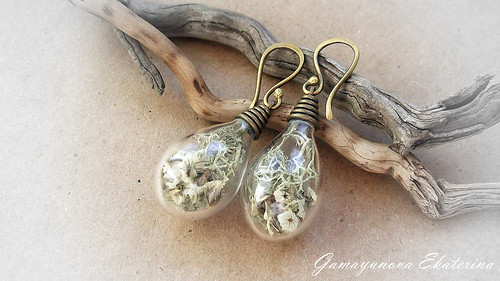 Earrings with moss inside