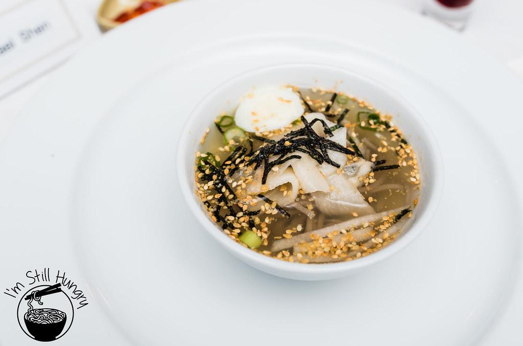 Makguksu - cold soba noodle soup korean banquet showcase