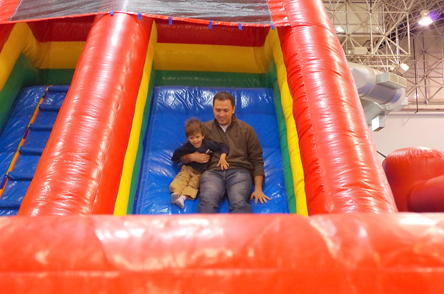 Dan and Carter on inflatable slide