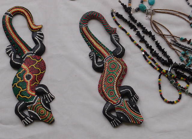 Wooden crocodiles and jewelry