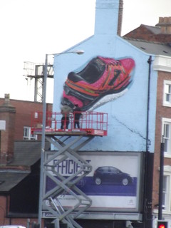 Red trainer graffiti and scissor lift - work in progress - Digbeth Court