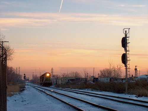 Northbound BNSF Railway light engine movement approaching Hawthorne Junction at sunset.  Chicago /  Cicero Illinois.  February 2007. by Eddie from Chicago