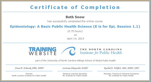 Certificate - E is for Epi 1.1