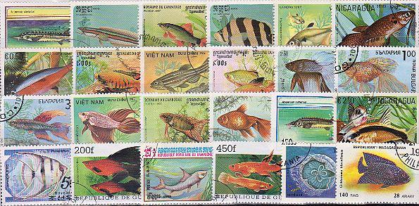 Známky - 50 rôznych, ryby a vodný život