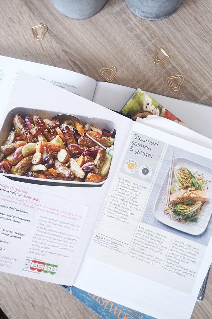 recipe sausage tray bake steamed salmon and ginger katelouiseblog
